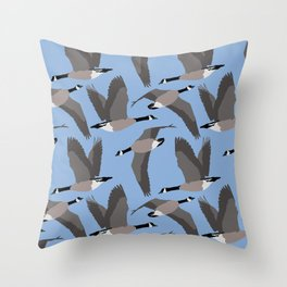 Canada Geese Flying in Blue Throw Pillow