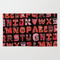 letters Area & Throw Rugs featuring Angry Letters by Chris Piascik