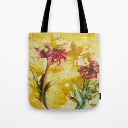 Abstract Red Poppies From Original Encaustic Art Tote Bag