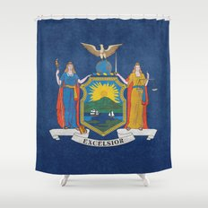 New York State Flag, vintage retro style Shower Curtain