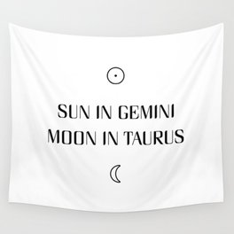 Gemini/Taurus Sun and Moon Signs Wall Tapestry