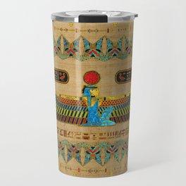 Egyptian Goddess Isis Ornament on papyrus Travel Mug