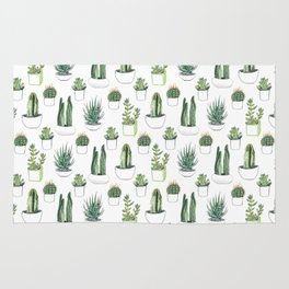 watercolour cacti and succulent Rug