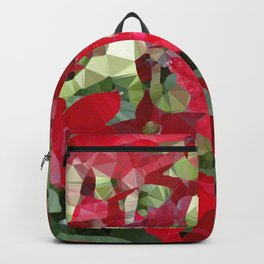 Red Tobacco Flowers Abstract Floral Low Poly Geometric Art  Backpack