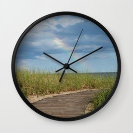 Rainbow at the end of the Path Wall Clock