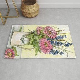 Pink Zinnias in Pitcher Watercolor Rug