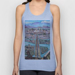 Mural of the Aztec city of Tenochtitlan by Diego Rivera Unisex Tank Top