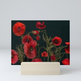 Red Poppies On Black Mini Art Print