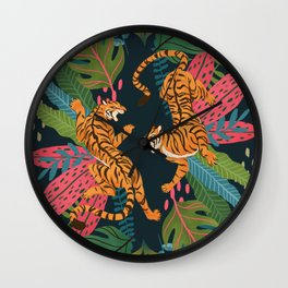 Jungle Cats - Roaring Tigers Wall Clock
