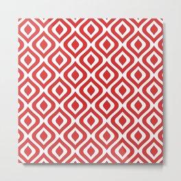 Mid Century Modern Diamond Ogee Pattern 130 Red Metal Print