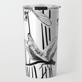 Minimal Art Flower Field Dragonflies White Travel Mug