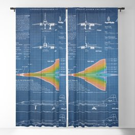 Concorde Supersonic Airliner Blueprint (light blue) Blackout Curtain