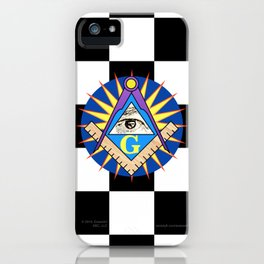 Masonic Square & Compass On Blue Disc iPhone Case