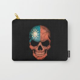 Dark Skull with Flag of Taiwan Carry-All Pouch