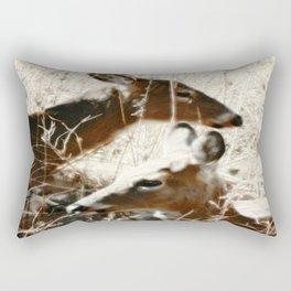 Doe And Her Young Rectangular Pillow