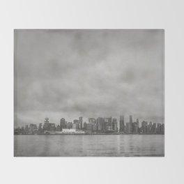 Vancouver Raincity Series - Raincity i - Moody Downtown Vancouver Cityscape Throw Blanket