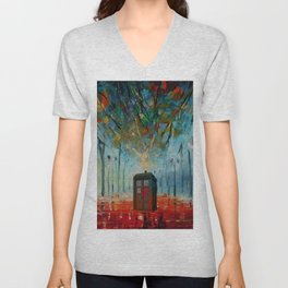 TARDIS ALONE Unisex V-Neck
