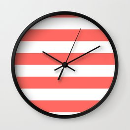 Horizontal Stripes - White and Pastel Red Wall Clock