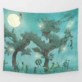 The Night Gardener - Dragon Tree night option  Wall Tapestry