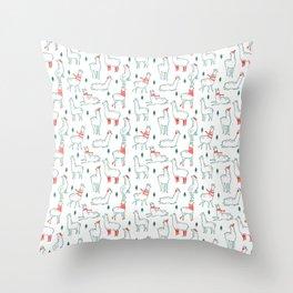 Holiday Llamas Throw Pillow