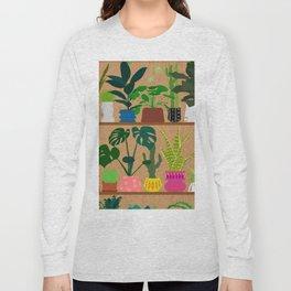 Plants on the Shelf in Warm Wood Long Sleeve T-shirt