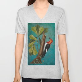 Red Headed Woodpecker with Oak, Natural History and Botanical collage Unisex V-Neck