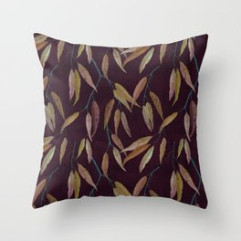 Eucalyptus leaves in autumn colors on plum violet Throw Pillow