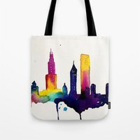 chicago map Tote Bags featuring Chicago  by Talula Christian