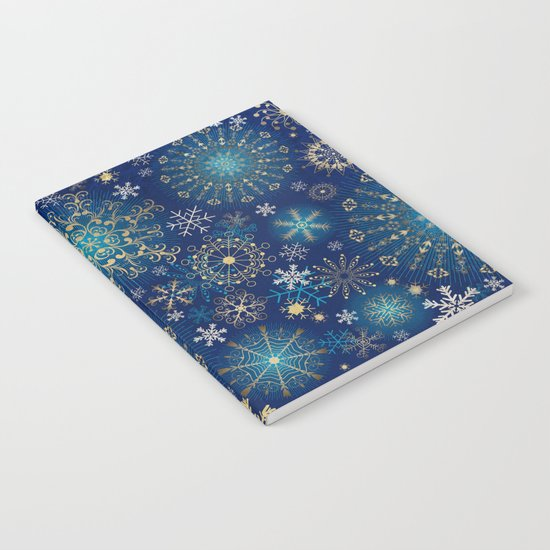 Blue gold snowflakes  Notebook