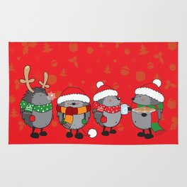 Christmas hedgehogs Rug
