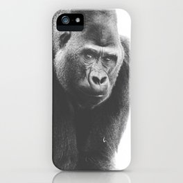 Silverback Gorilla (black + white) iPhone Case