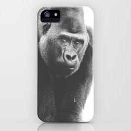 Silverback Gorilla (black + white) iPhone Case