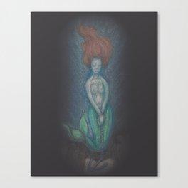 Watercolor Pastel Painting of Mermaid Art Canvas Print