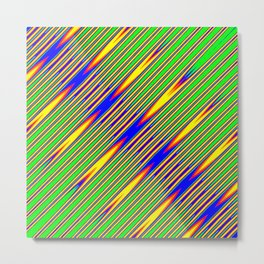 Diagonal Green Gold Op-Art Stripes Metal Print