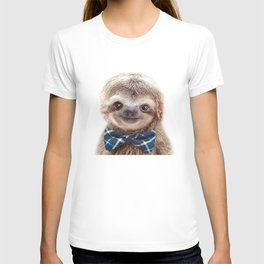 Baby Sloth With Bow Tie, Baby Animals Art Print By Synplus T-shirt