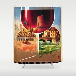 1930 French Bourgogne Wine Societe Nationale Advertisement Poster Shower Curtain
