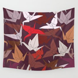 Japanese Origami paper cranes symbol of happiness, luck and longevity, sketch Wall Tapestry