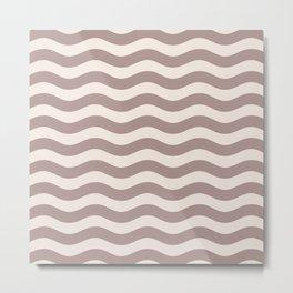 Wavy Stripes Patten Beige Metal Print