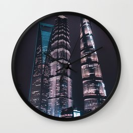 Asian Skyscrapers / Neon City Lights Travel Photography Wall Clock