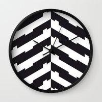 hong kong Wall Clocks featuring Hong Kong by Alba Romera