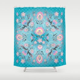 Folk Flowers in Pink and Dusty Blue Shower Curtain