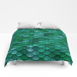 Green Penny Scales Comforters