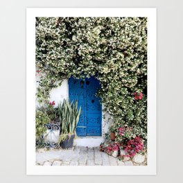 Blue door with pink flowers in Sidi Bou Saïd, Tunisia Art Print