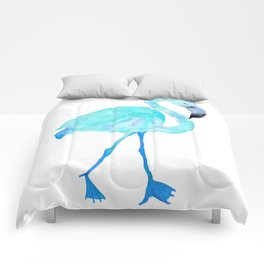 Aqua Watercolor Flamingo Comforters