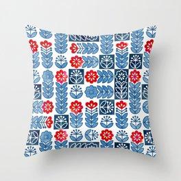 Swedish folk flowers Throw Pillow