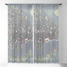 Venice city map engraving Sheer Curtain