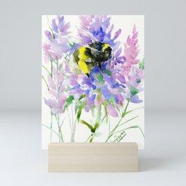 Bumblebee and Lavender Flowers, nature bee honey making decor Mini Art Print