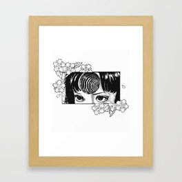 Junji Ito with cherry blossoms Framed Art Print
