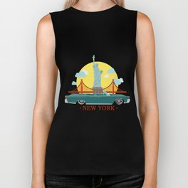 Cabriolet car on the background of the Statue of Liberty and Golden Gate Bridge Biker Tank