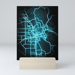 Santa Rosa, CA, USA, Blue, White, Neon, Glow, City, Map Mini Art Print